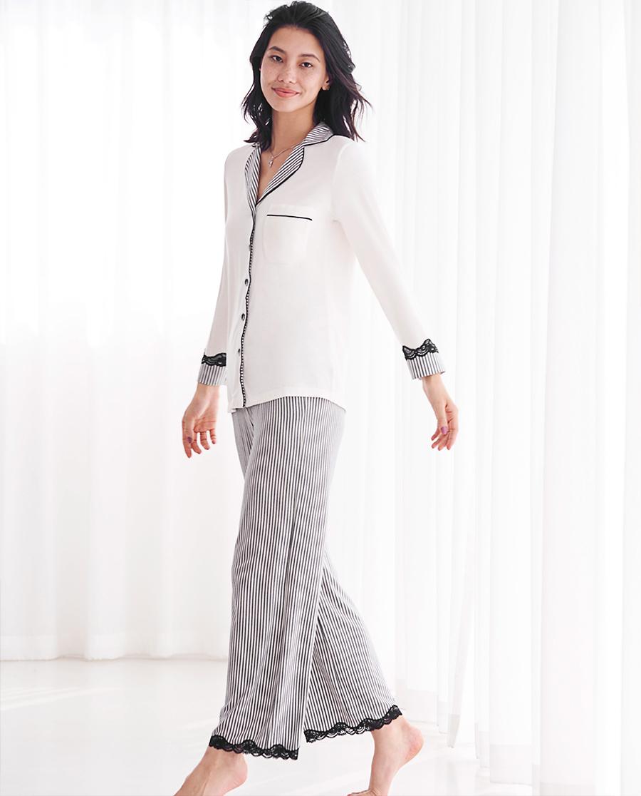 Aimer Home睡衣|爱慕家居律动条纹长袖分身家居套装AH46