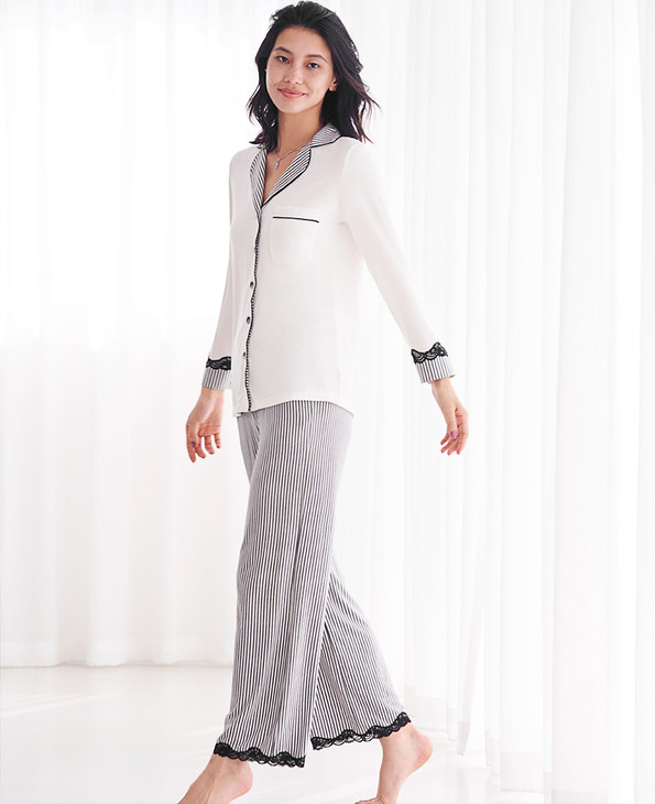 Aimer Home睡衣|爱慕家居律动条纹长袖分身家居套装AH460601