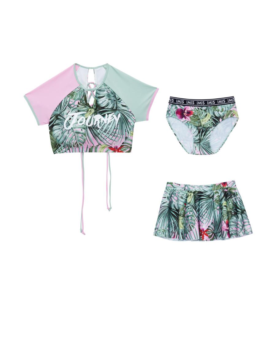 IMIS泳衣|爱美丽泳衣热带风潮无托短袖分身三件套泳衣