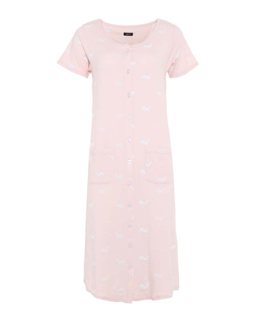 IMIS睡衣|愛美麗家居粉紅海洋圓領開衫短袖睡裙IM4