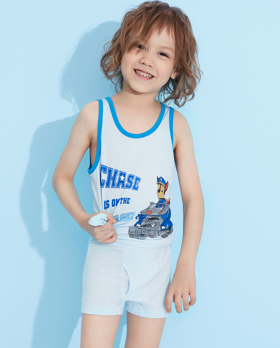 Aimer Kids内裤|爱慕儿童天使小裤MODAL汪汪队男童阿奇警车中腰平角裤AK2233423