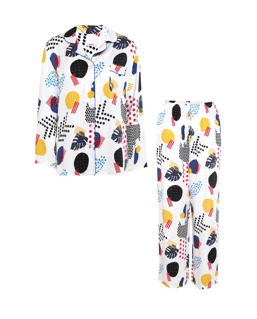 Aimer睡衣|愛慕時尚幾何九分袖長褲套裝AM46396
