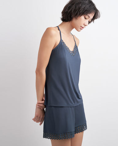 AIMER NYC睡衣|AIMER NYC爱慕GREENWICH格林尼治细带短上衣+短裤AN430131