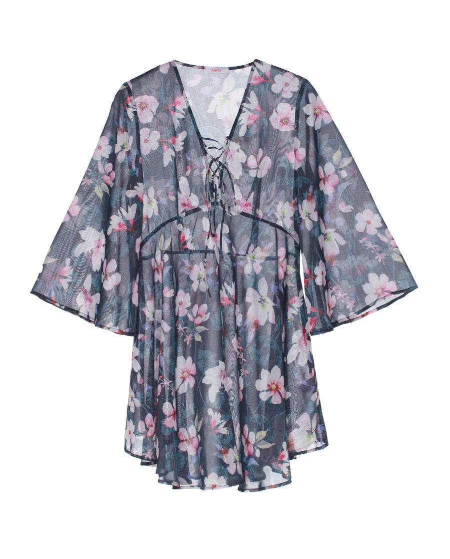 Aimer泳衣|愛慕夜之櫻長袖短款沙灘裙AM604281