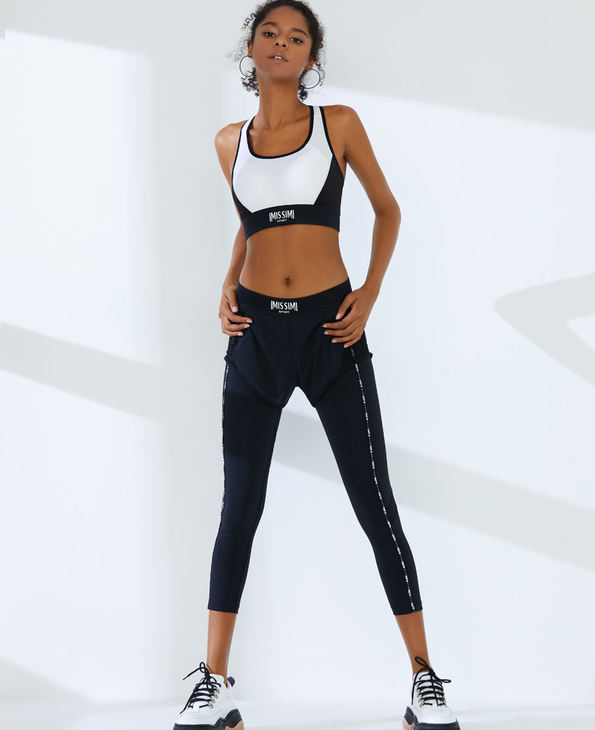 IMIS运动装|爱美丽运动未来主义 假俩件式高腰紧身九分裤IM64AXK1