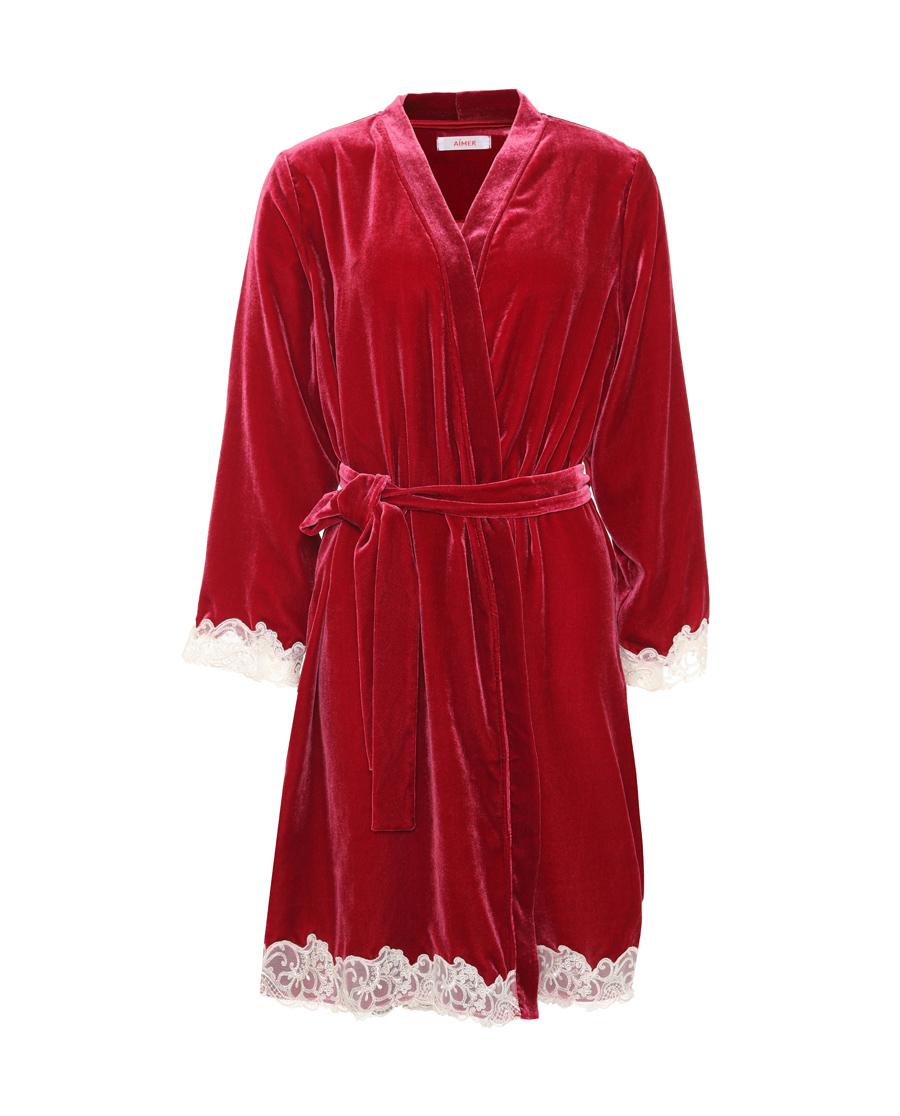 Aimer睡衣|爱慕瑰丽长袖家居袍AM484341