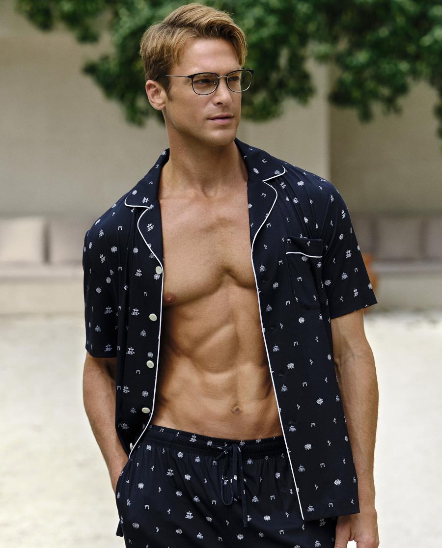Aimer Men睡衣|愛慕先生20SS縱享絲滑家居翻領開衫短袖