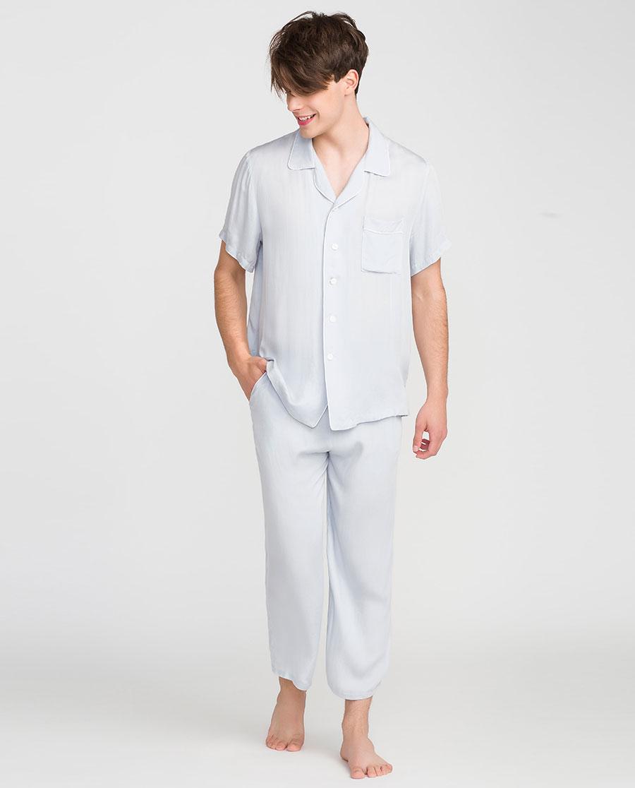 IMIS睡衣|愛美麗家居簡愛男式翻領開衫短袖上衣長褲套