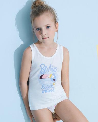 Aimer Kids睡衣|爱慕儿童天使背心modal印花女童大嘴鸟背心AK1112783