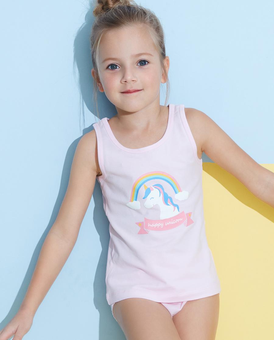 Aimer Kids睡衣|愛慕兒童天使背心棉氨綸印花女童彩虹天馬背