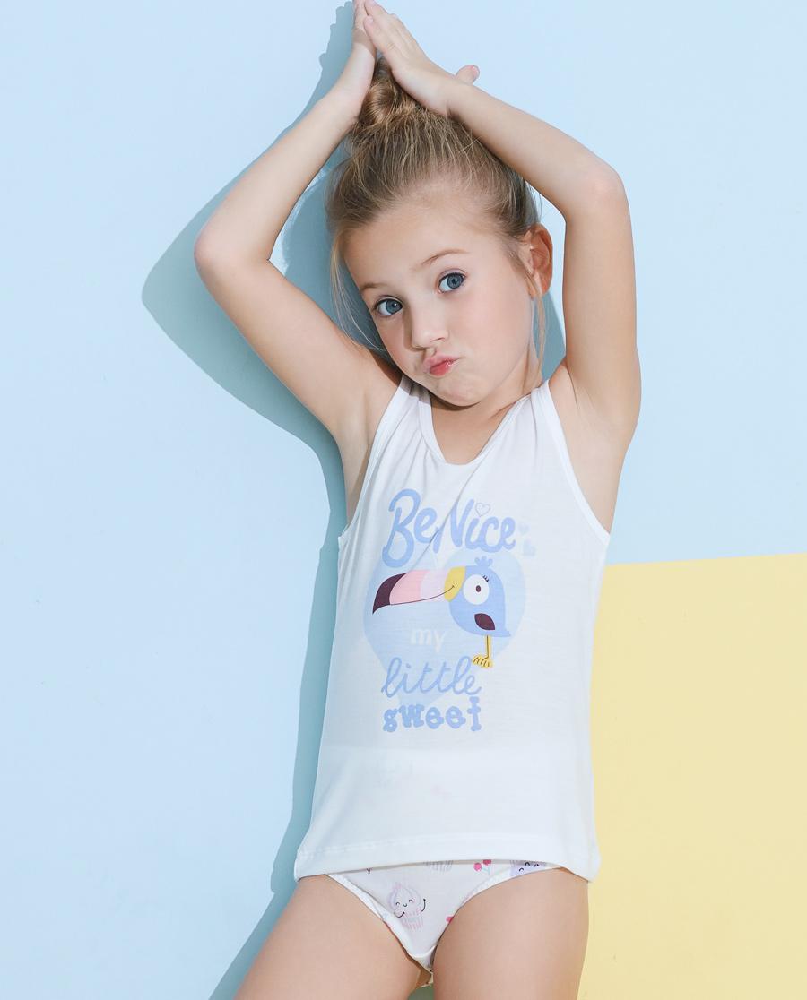 Aimer Kids睡衣|愛慕兒童天使背心modal印花女童大嘴鳥