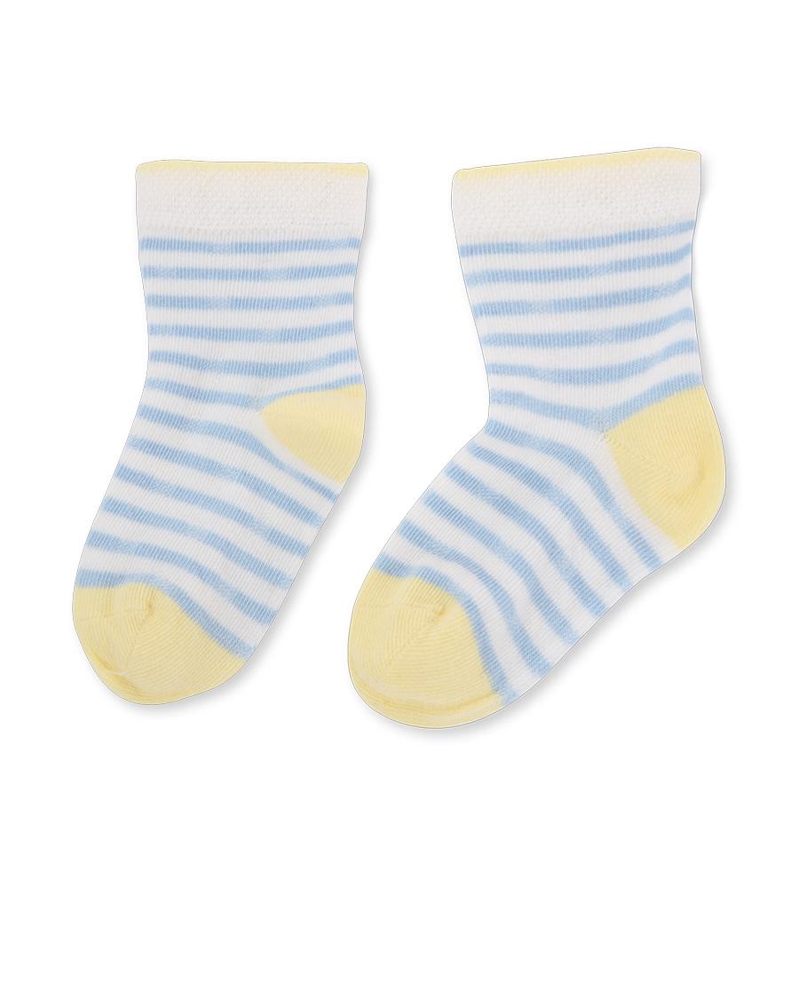 Aimer Baby襪子|愛慕嬰幼襪子男童藍條紋黃色撞色短襪AB2
