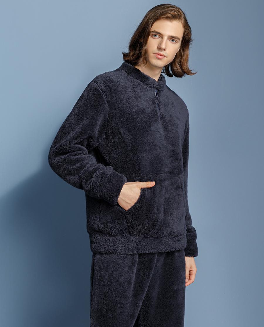 HUXI睡衣|乎兮男士套頭法蘭絨家居套裝HN46190