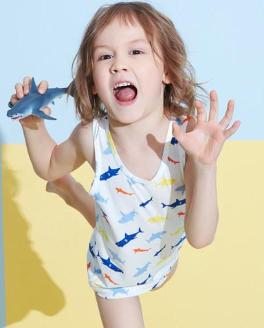 Aimer Kids睡衣|爱慕儿童天使背心modal印花男童好多鲨鱼跨栏背心AK2112783