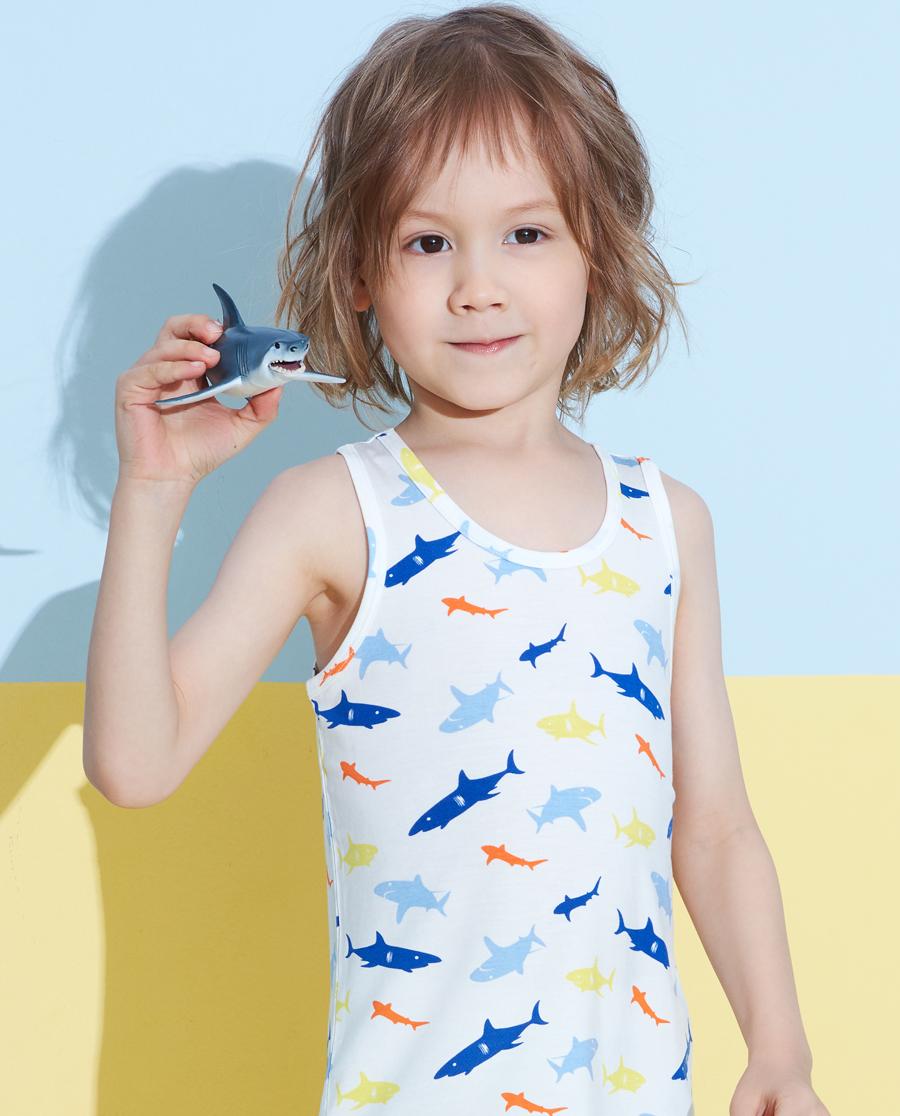 Aimer Kids睡衣|愛慕兒童天使背心modal印花男童好多鯊
