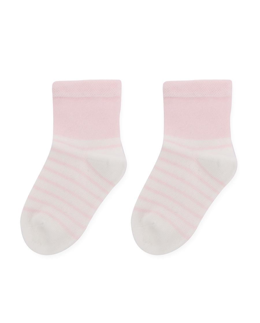Aimer Baby襪子|愛慕嬰幼襪子女童粉色條紋短襪AB1943