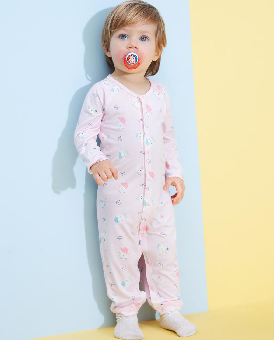 Aimer Baby睡衣 愛慕嬰兒小伙伴女嬰長袖連體爬服AB145