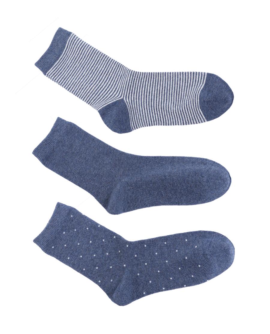 HUXI袜子|乎兮精梳棉中筒女袜3双装HX941907