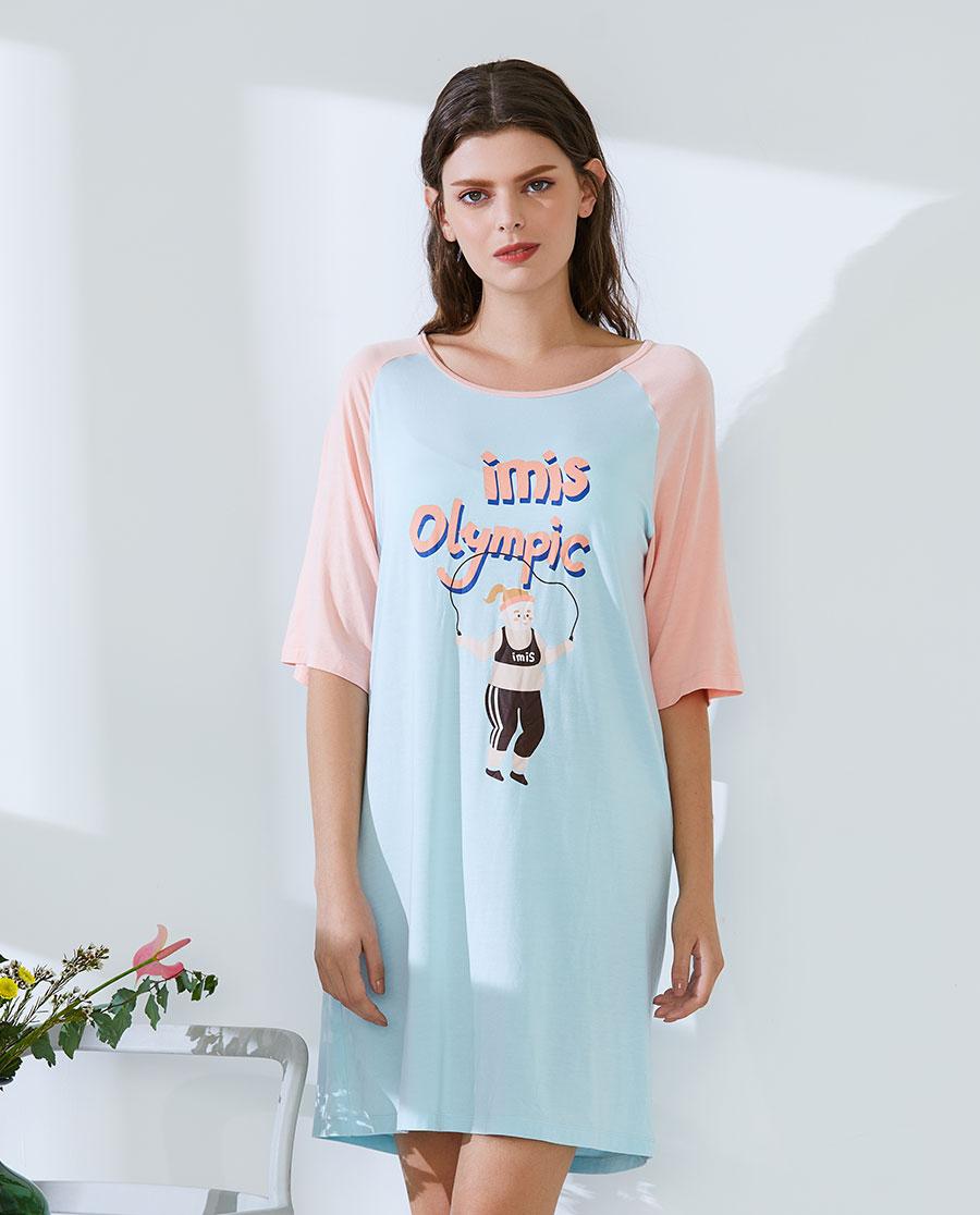 IMIS睡衣|爱美丽家居卡路里莫代尔圆领短袖睡裙IM44AWH1