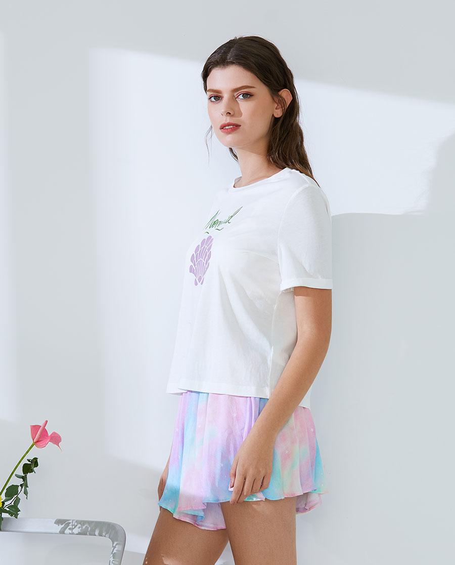 IMIS睡衣 愛美麗家居幻彩海洋短袖T恤短褲套裝IM4
