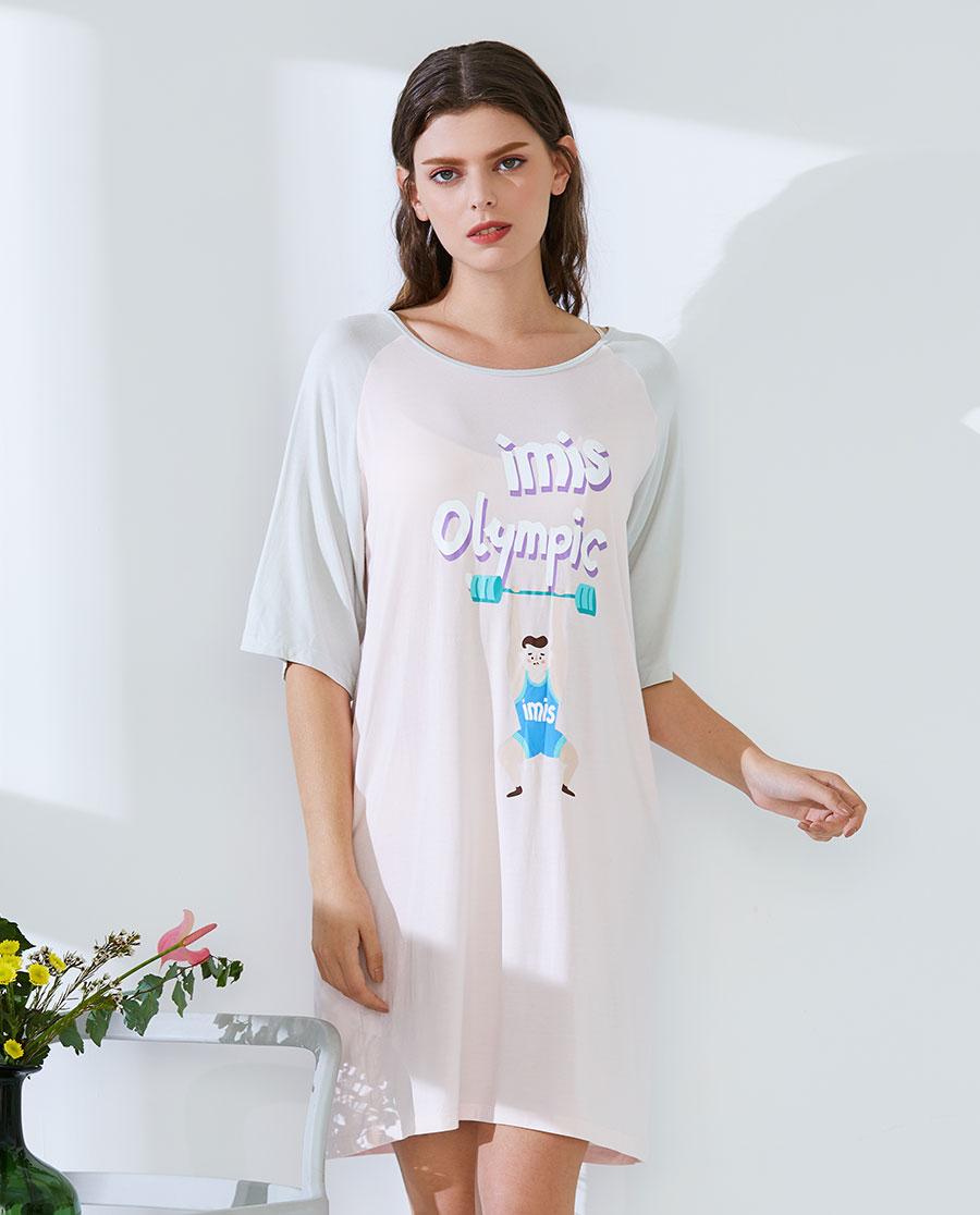 IMIS睡衣 愛美麗家居卡路里莫代爾圓領短袖睡裙IM4