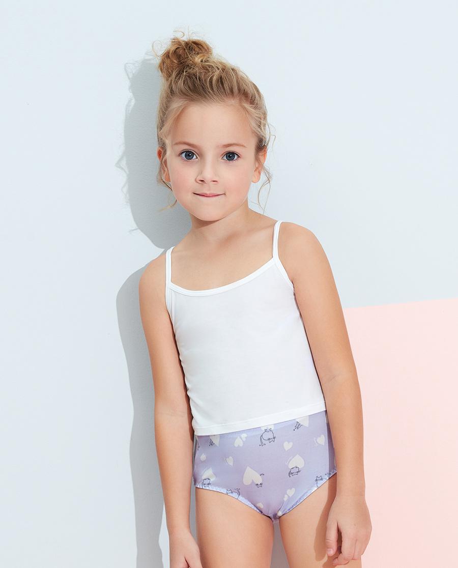 Aimer Kids内裤|爱慕儿童天使小裤棉氨纶印花软萌心中腰三角裤AK1222821