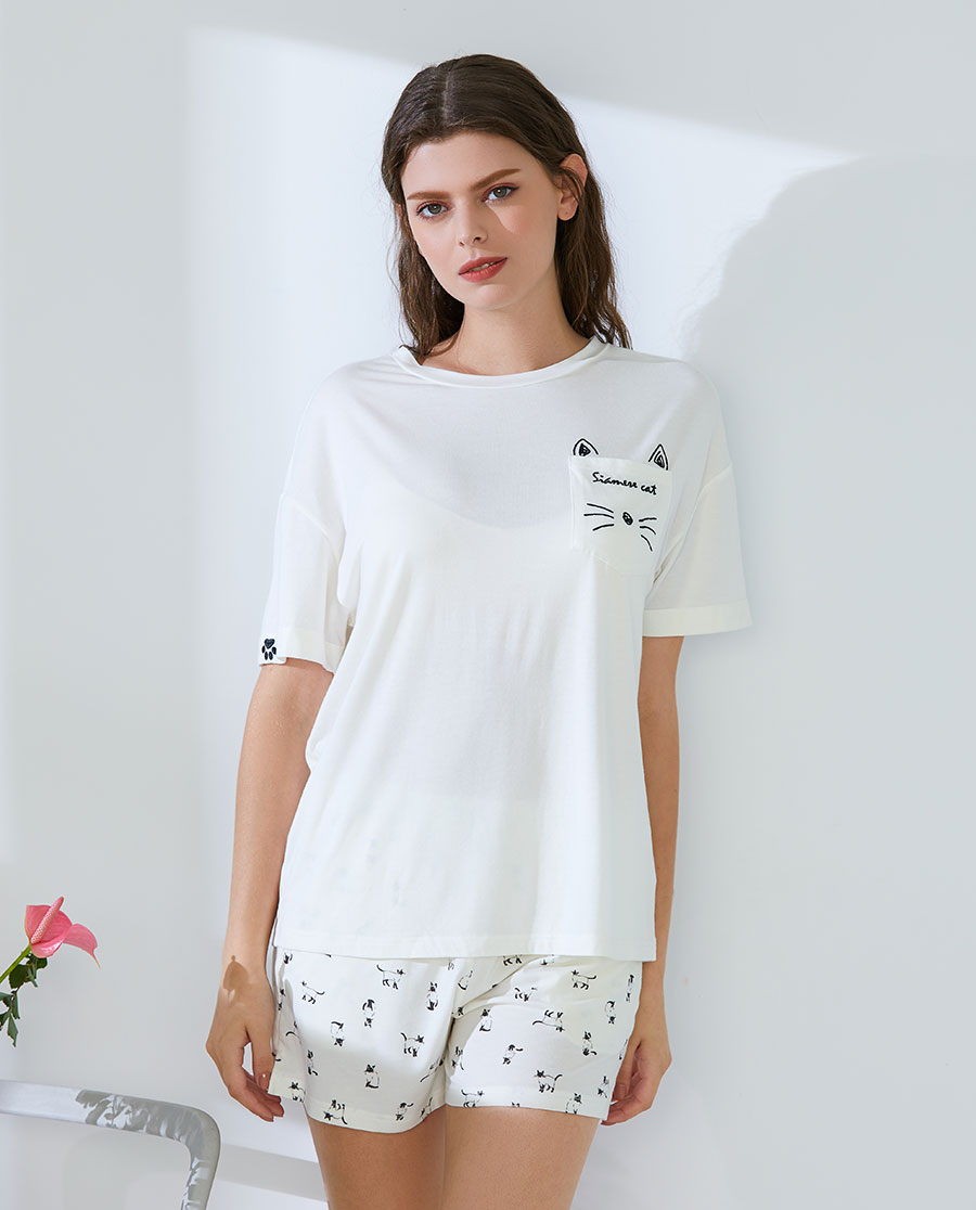 IMIS睡衣 IMIS愛美麗家居暹羅貓 短袖針織T恤I
