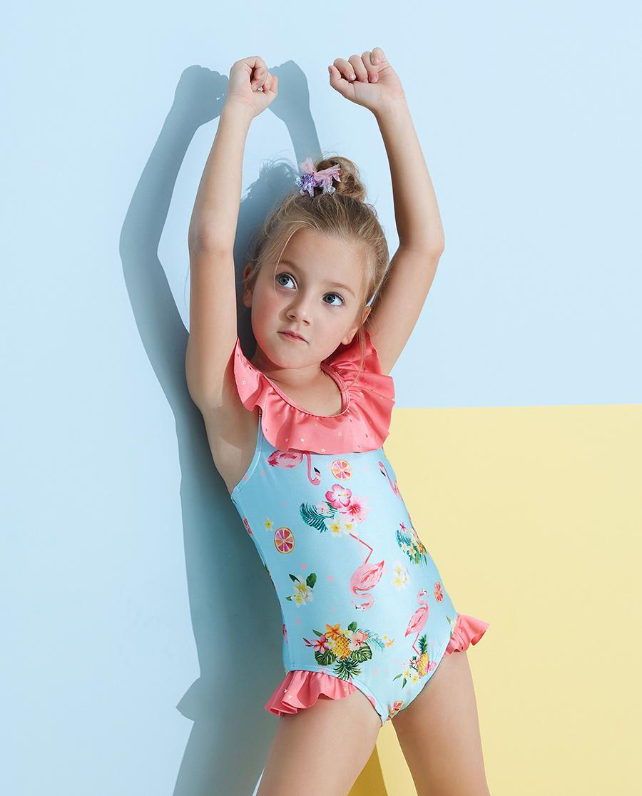 Aimer Kids泳衣|愛慕兒童2件裝 怡情火烈鳥連體泳衣AK1