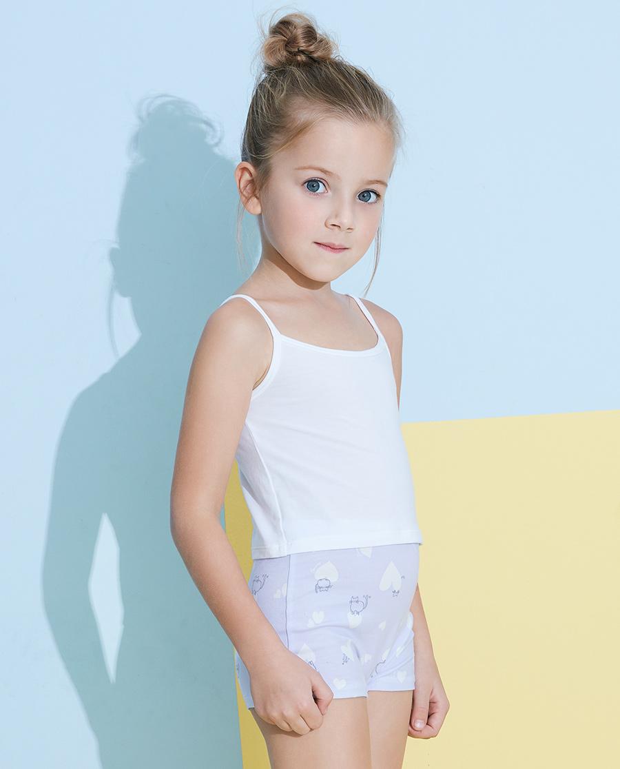 Aimer Kids内裤|爱慕儿童天使小裤棉氨纶印花软萌心中腰平角裤AK1232821