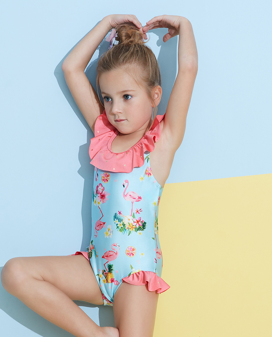Aimer Kids泳衣|爱慕儿童2件装 怡情火烈鸟连体泳衣AK1