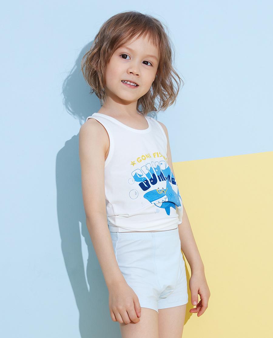 Aimer Kids内裤|爱慕儿童天使小裤棉氨纶印花男孩海浪鲨鱼中腰平角裤AK2232824