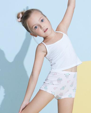 Aimer Kids内裤|爱慕儿童天使小裤棉氨纶印花仲夏仙人掌中腰平角裤AK1232822