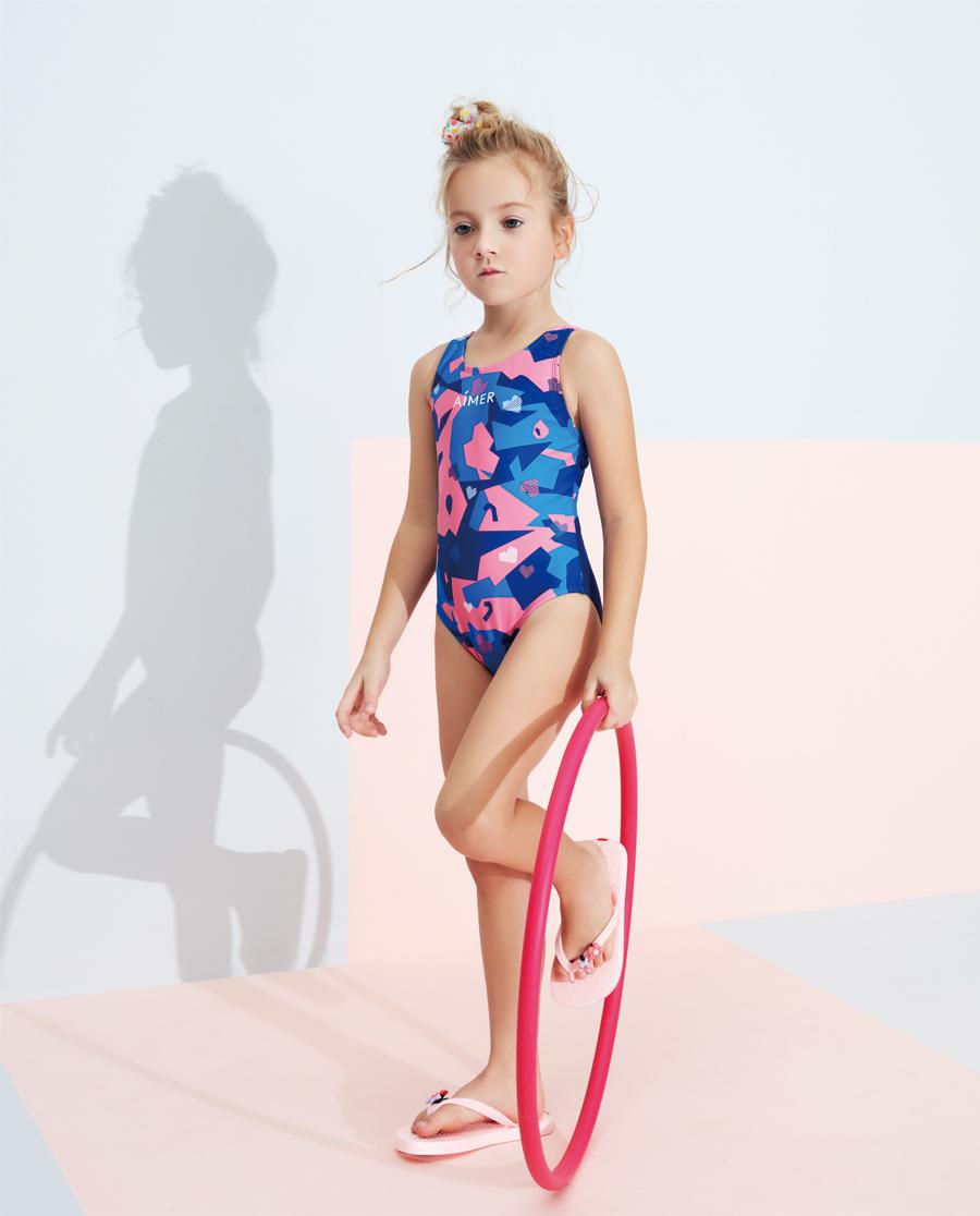 Aimer Kids泳衣|爱慕儿童2件装 色块迷彩连体泳衣AK16