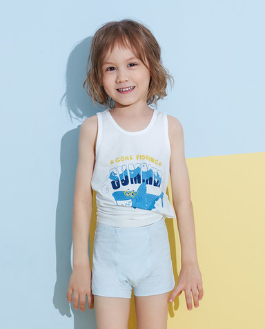 Aimer Kids睡衣|爱慕儿童天使背心棉氨纶印花海浪鲨鱼跨栏背心AK2112792