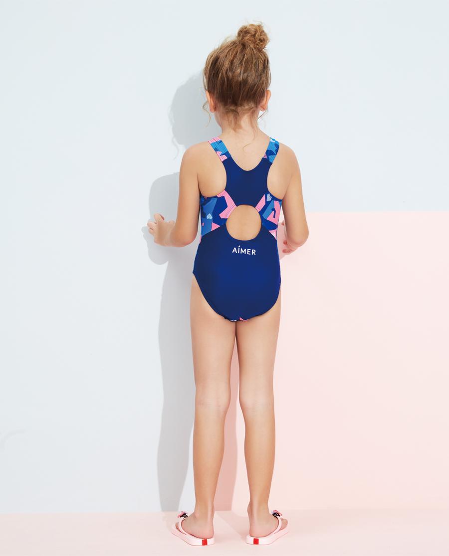 Aimer Kids泳衣|爱慕儿童泳衣泳帽套装 色块迷彩连体泳衣A