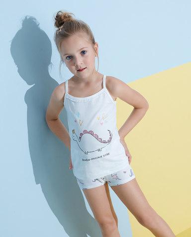 Aimer Kids睡衣|爱慕儿童天使背心棉氨纶印花恐龙妹吊带AK1112792