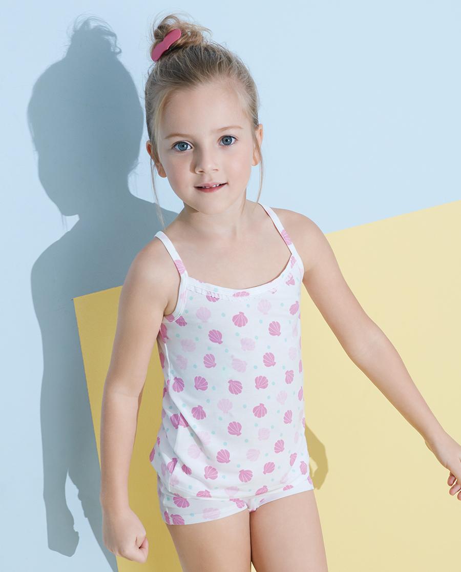 Aimer Kids睡衣|愛慕兒童天使背心modal印花小貝殼吊帶