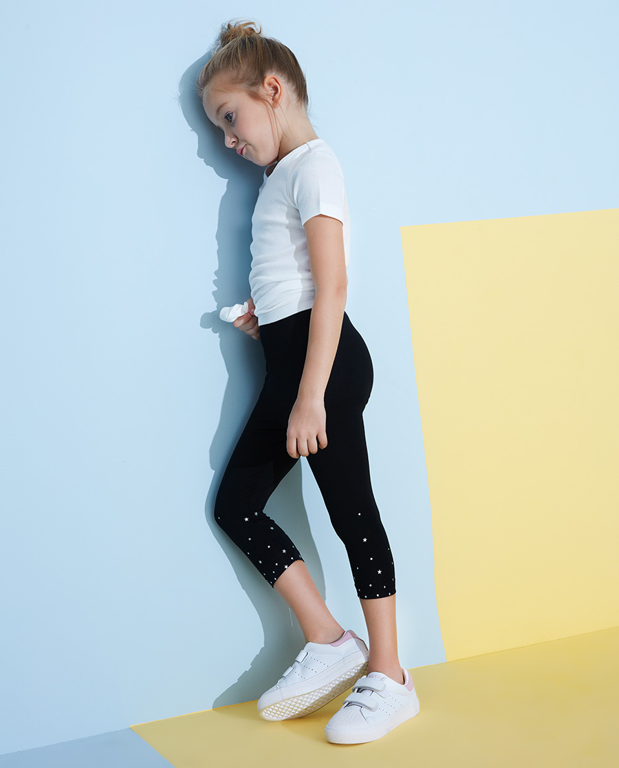 Aimer Kids睡衣|愛慕兒童印花打底褲女孩星雨七分打底褲AK