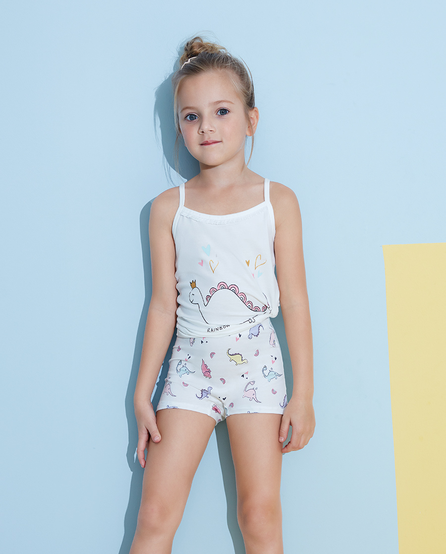 Aimer Kids内裤|爱慕儿童天使小裤棉氨纶印花彩虹恐龙妹中腰平角裤AK1232823