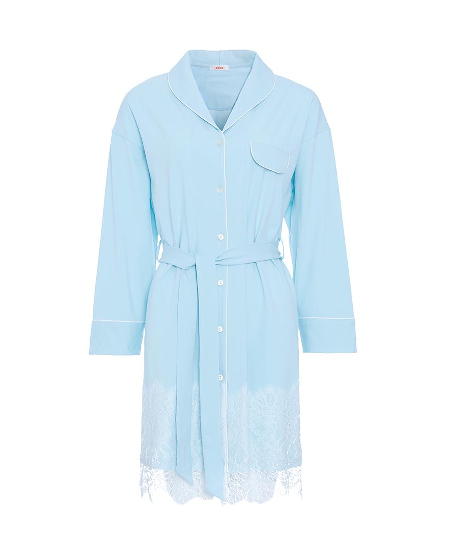 Aimer睡衣|爱慕舒适心情长袖衬衫裙AM444471