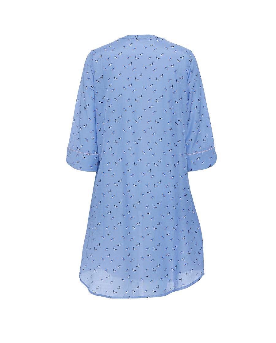 Aimer Home睡衣|爱慕家品条纹期许衬衫式七分袖中长睡裙AH440861