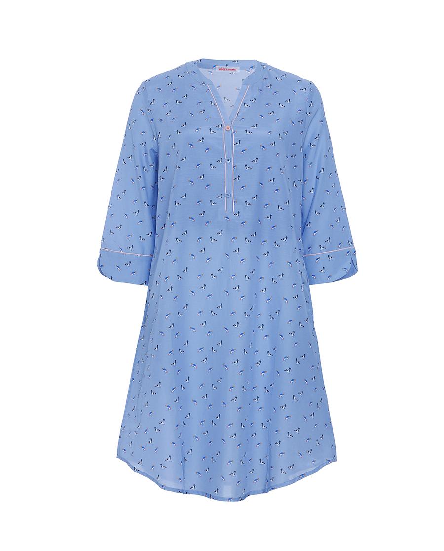Aimer Home睡衣|愛慕家品條紋期許襯衫式七分袖中長睡裙AH