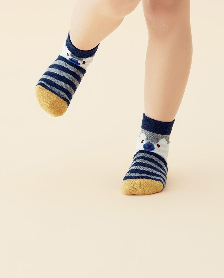 JOURVA襪子|足哇20SS快樂時光小熊條紋提花短筒襪J