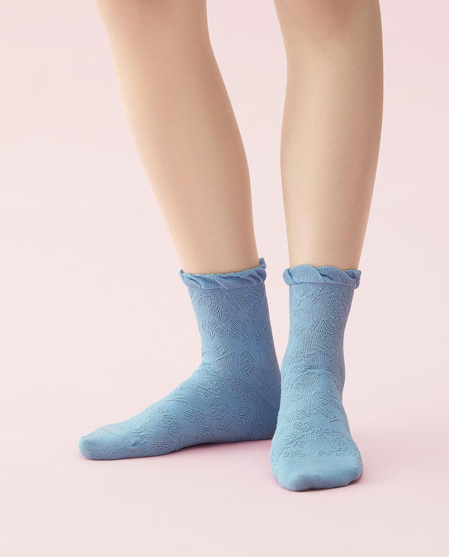 JOURVA襪子|足哇浪漫女士提花短筒襪JV1110381