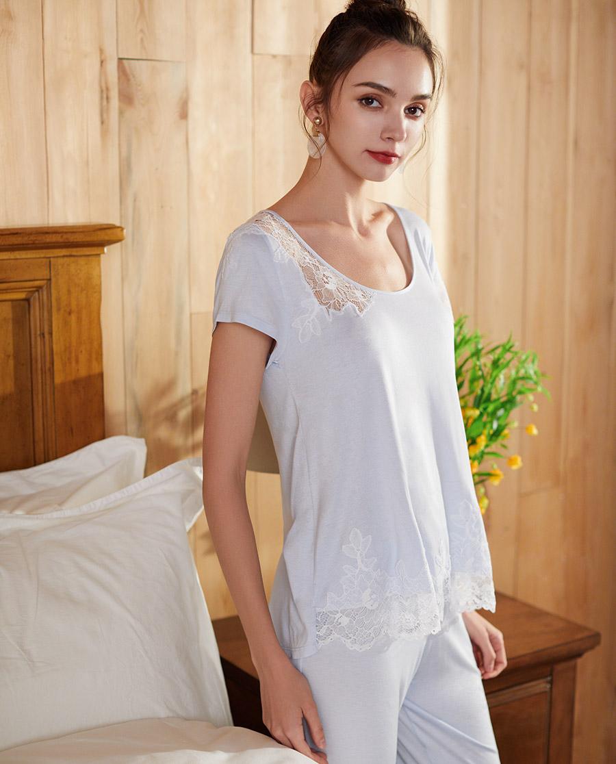 Le Chat睡衣|Le Chat藍色茉莉系列短袖分身睡衣套