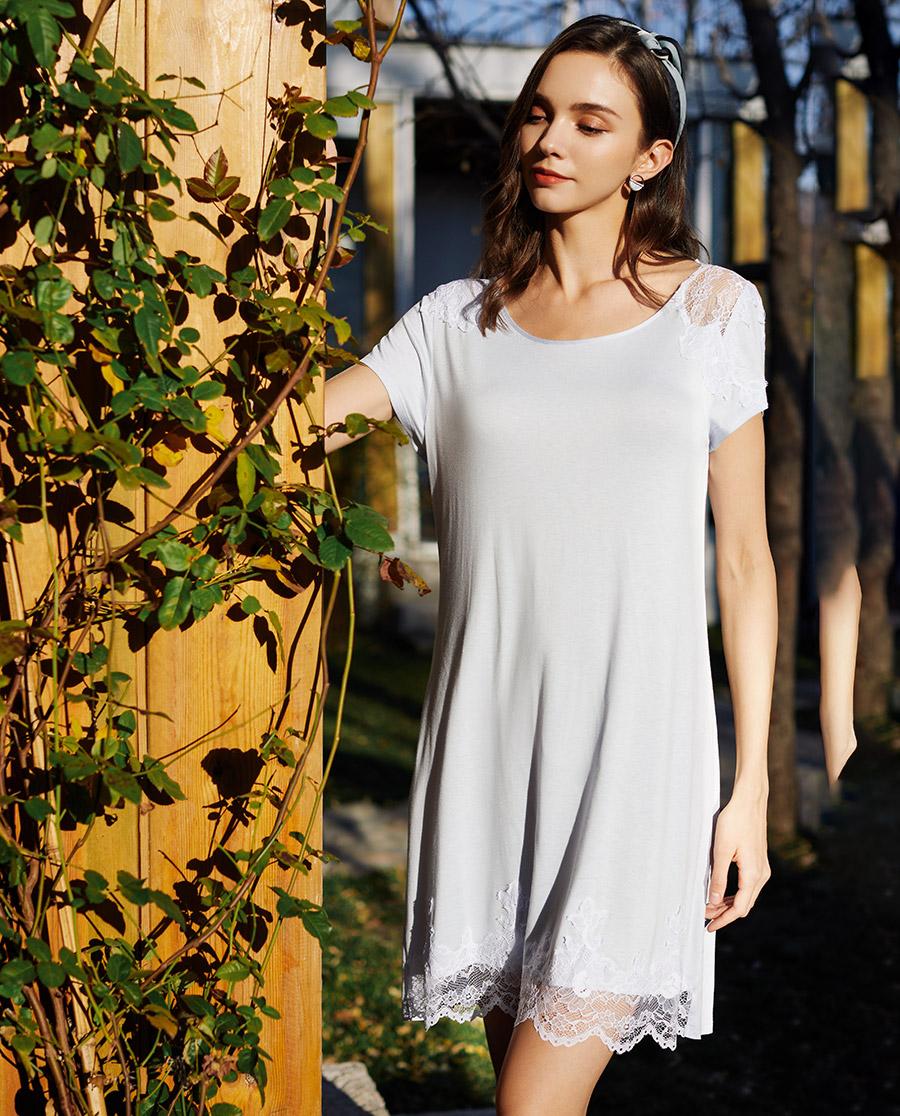 Le Chat睡衣|Le Chat藍色茉莉系列短袖睡裙LEA