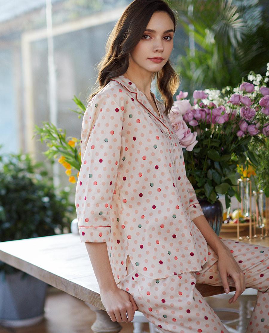 Le Chat睡衣|Le Chat律動波點系列分身睡衣套裝L