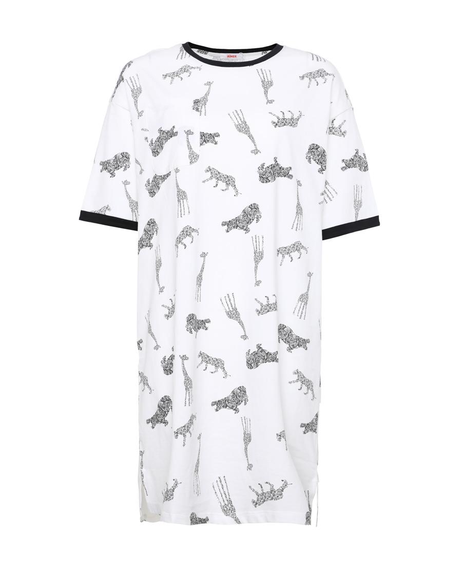 Aimer Basic睡衣|愛慕在線-涼感棉印花七分袖睡裙AM444