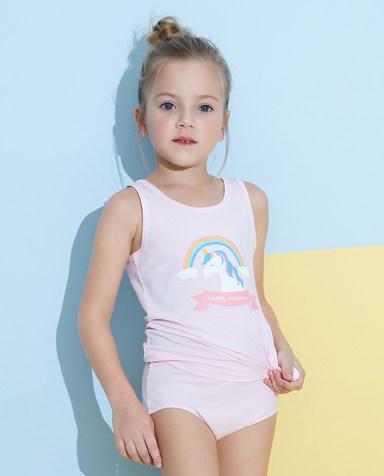 Aimer Kids内裤|爱慕儿童天使小裤棉氨纶印花女童彩虹天马中腰三角裤AK1222825