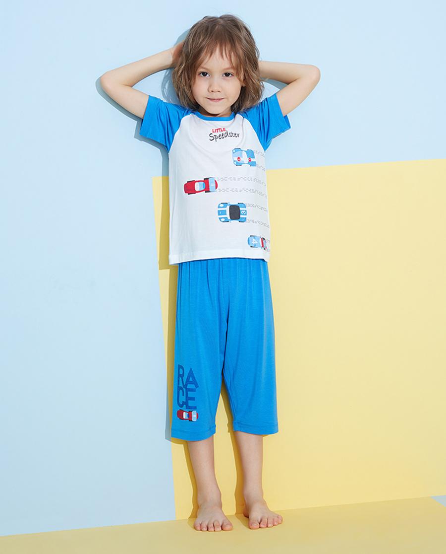 Aimer Kids睡衣|愛慕兒童光速賽車男孩短袖上衣七分褲套裝A
